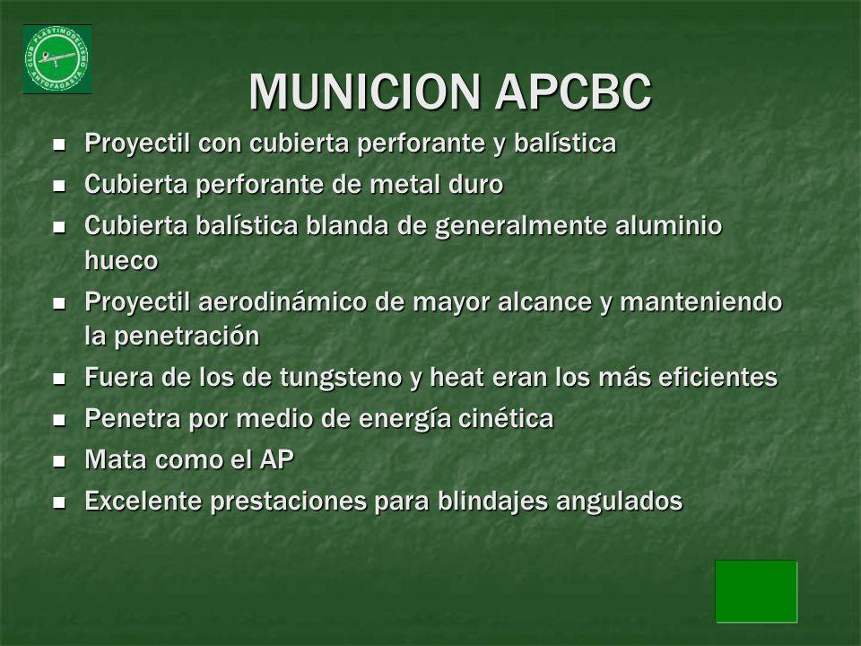 MUNICION APCBC Proyectil con cubierta perforante y balística