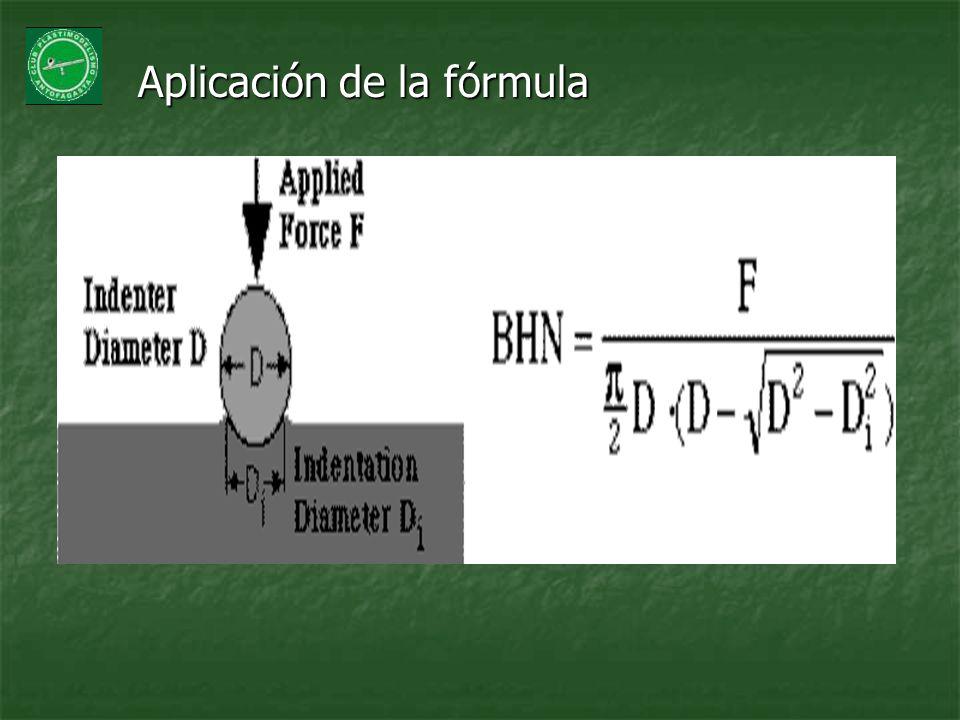 Aplicación de la fórmula