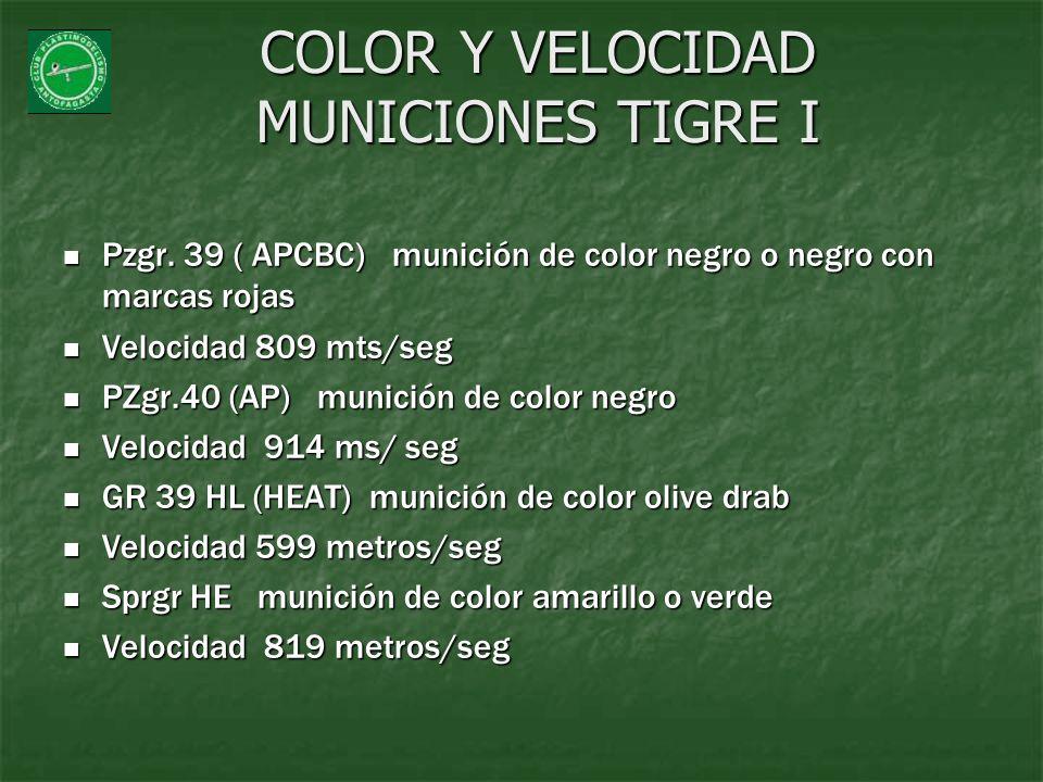COLOR Y VELOCIDAD MUNICIONES TIGRE I
