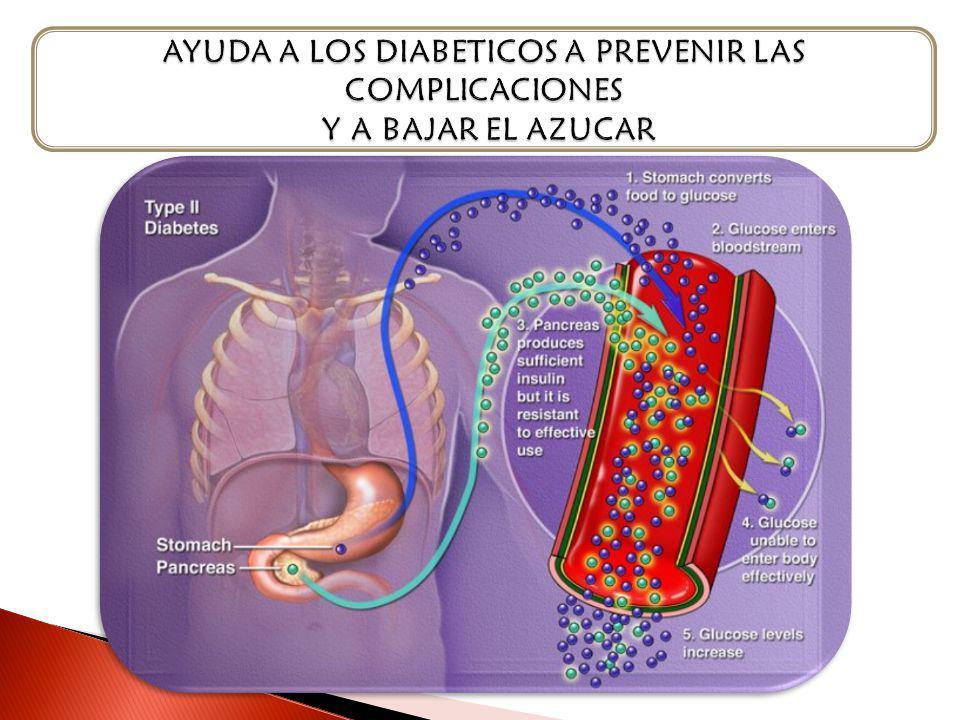 AYUDA A LOS DIABETICOS A PREVENIR LAS COMPLICACIONES Y A BAJAR EL AZUCAR