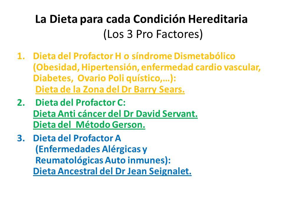 La Dieta para cada Condición Hereditaria (Los 3 Pro Factores)