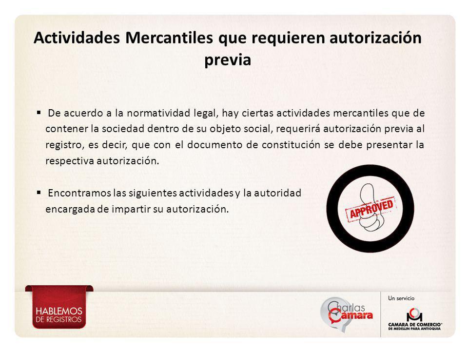 Actividades Mercantiles que requieren autorización previa