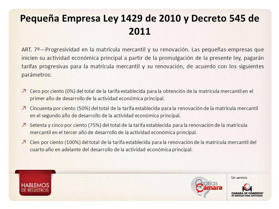 Pequeña Empresa Ley 1429 de 2010 y Decreto 545 de 2011