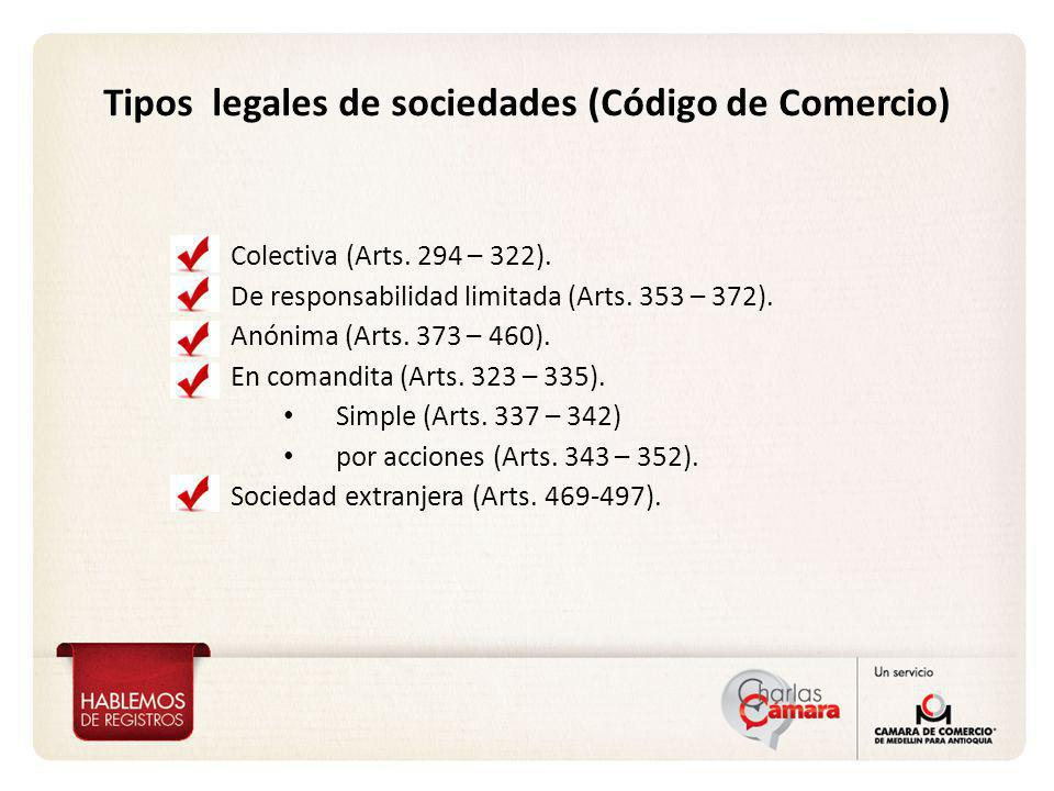 Tipos legales de sociedades (Código de Comercio)