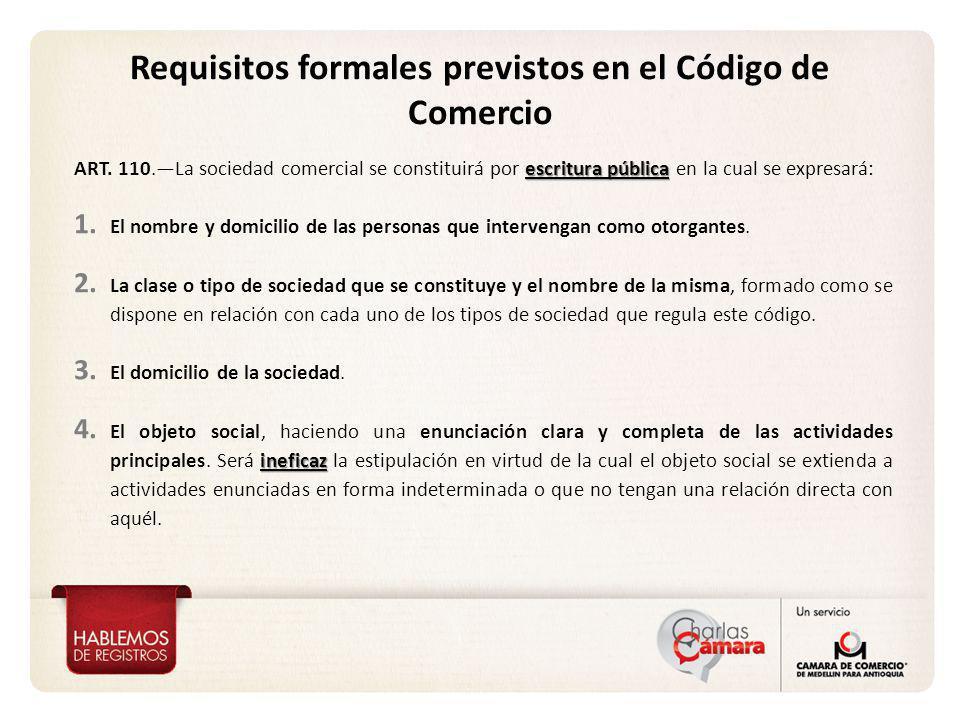 Requisitos formales previstos en el Código de Comercio