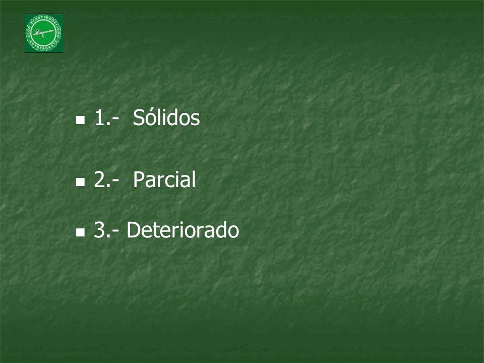 1.- Sólidos 2.- Parcial 3.- Deteriorado