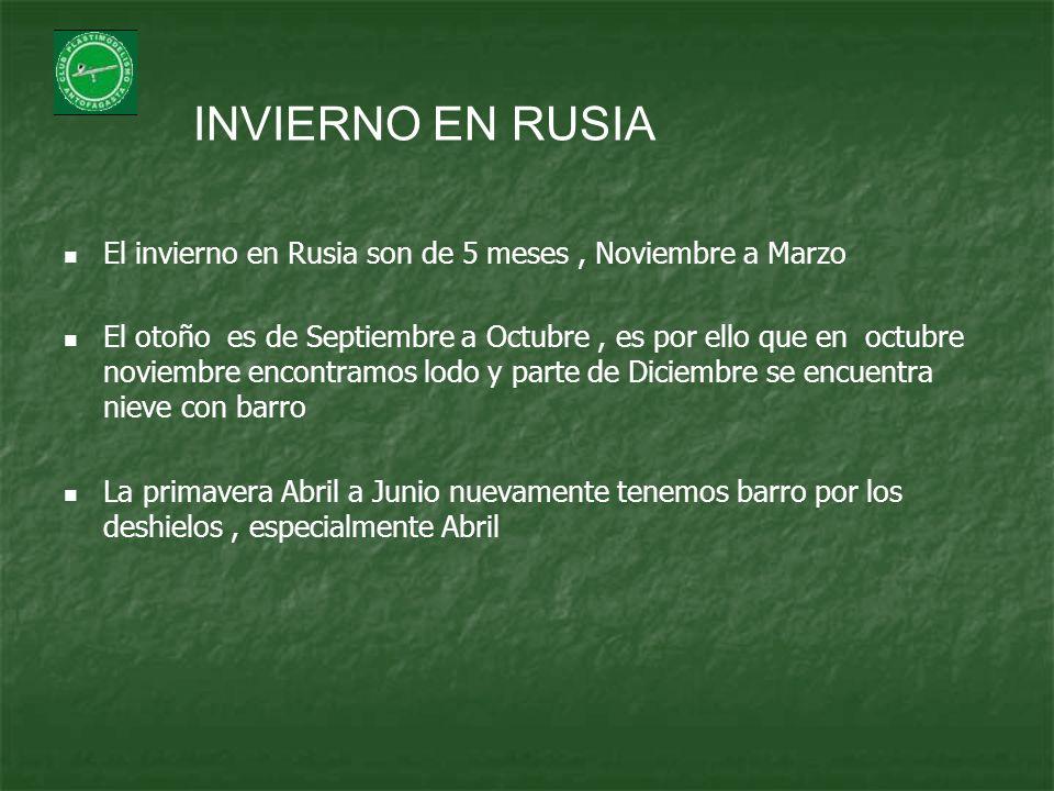 INVIERNO EN RUSIA El invierno en Rusia son de 5 meses , Noviembre a Marzo.