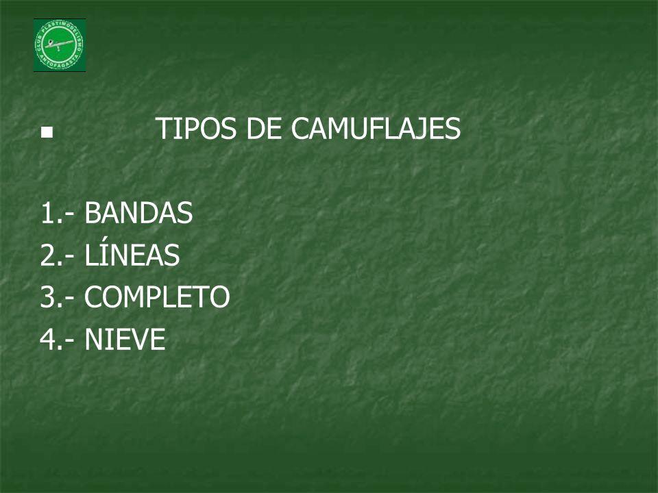 TIPOS DE CAMUFLAJES 1.- BANDAS 2.- LÍNEAS 3.- COMPLETO 4.- NIEVE