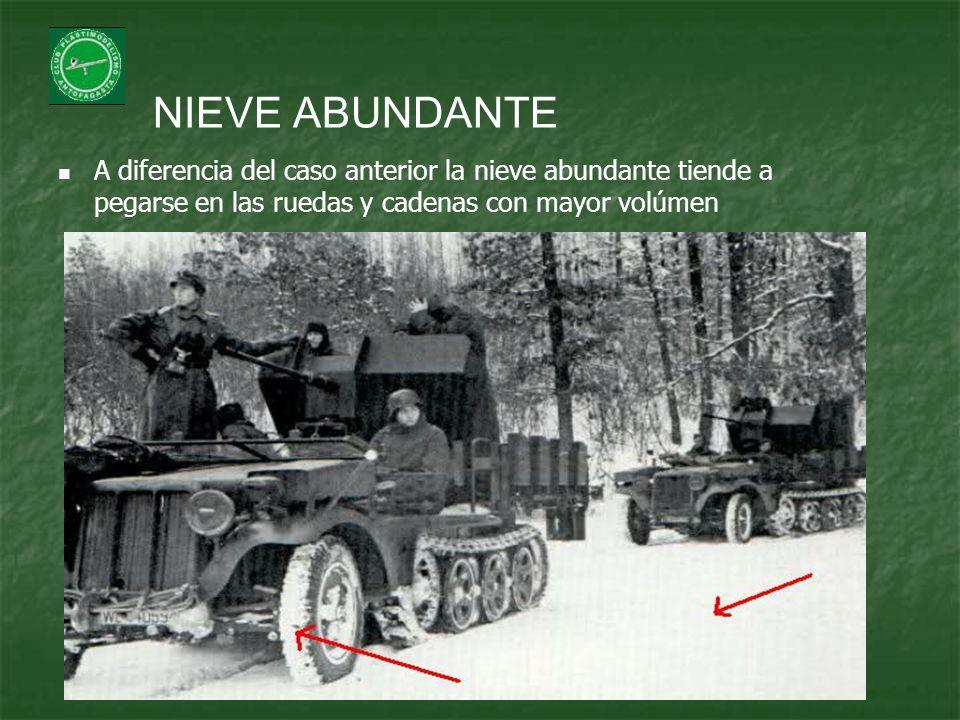 NIEVE ABUNDANTE A diferencia del caso anterior la nieve abundante tiende a pegarse en las ruedas y cadenas con mayor volúmen.