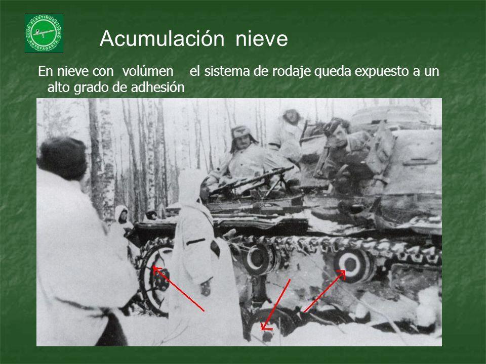 Acumulación nieve En nieve con volúmen el sistema de rodaje queda expuesto a un alto grado de adhesión.