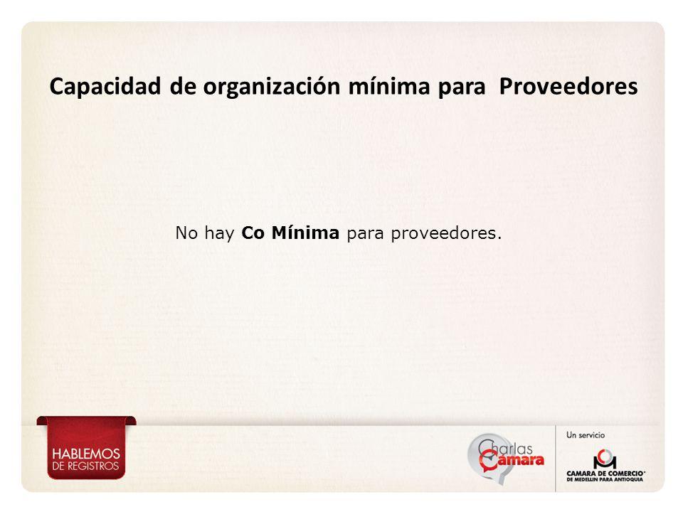 Capacidad de organización mínima para Proveedores