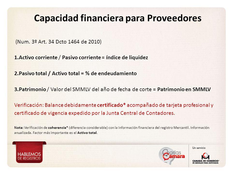 Capacidad financiera para Proveedores