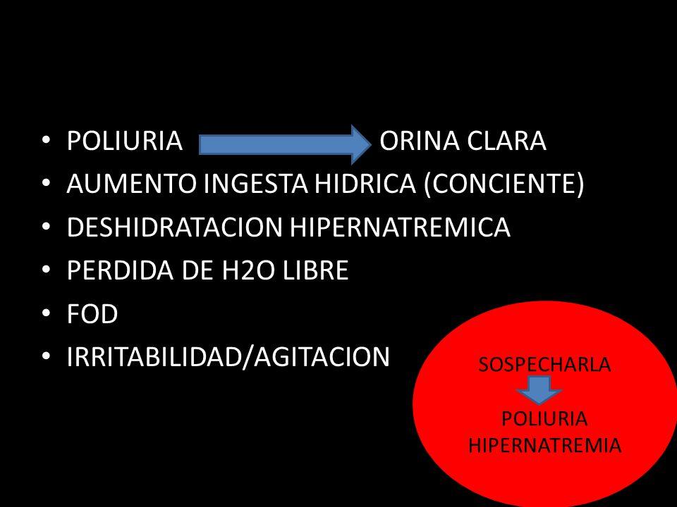 AUMENTO INGESTA HIDRICA (CONCIENTE) DESHIDRATACION HIPERNATREMICA