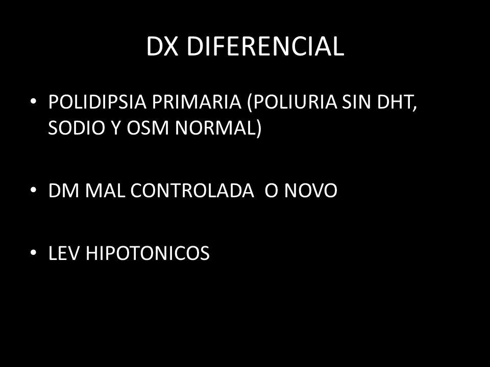 DX DIFERENCIAL POLIDIPSIA PRIMARIA (POLIURIA SIN DHT, SODIO Y OSM NORMAL) DM MAL CONTROLADA O NOVO.