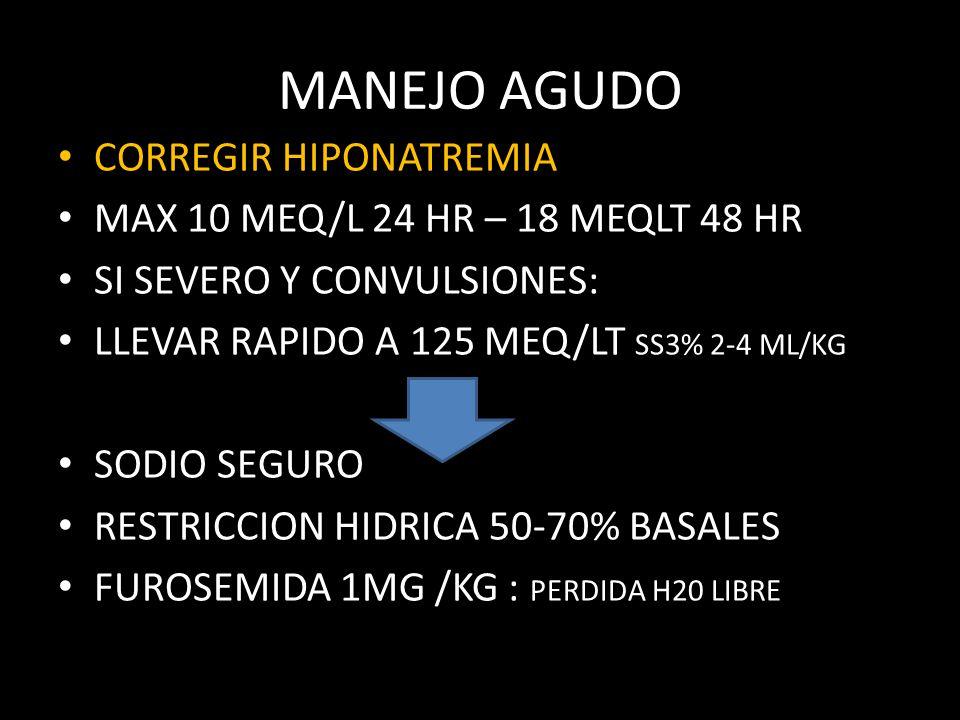 MANEJO AGUDO CORREGIR HIPONATREMIA MAX 10 MEQ/L 24 HR – 18 MEQLT 48 HR