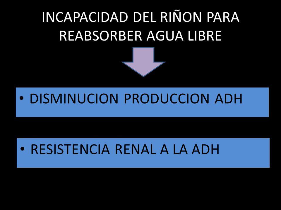 INCAPACIDAD DEL RIÑON PARA REABSORBER AGUA LIBRE