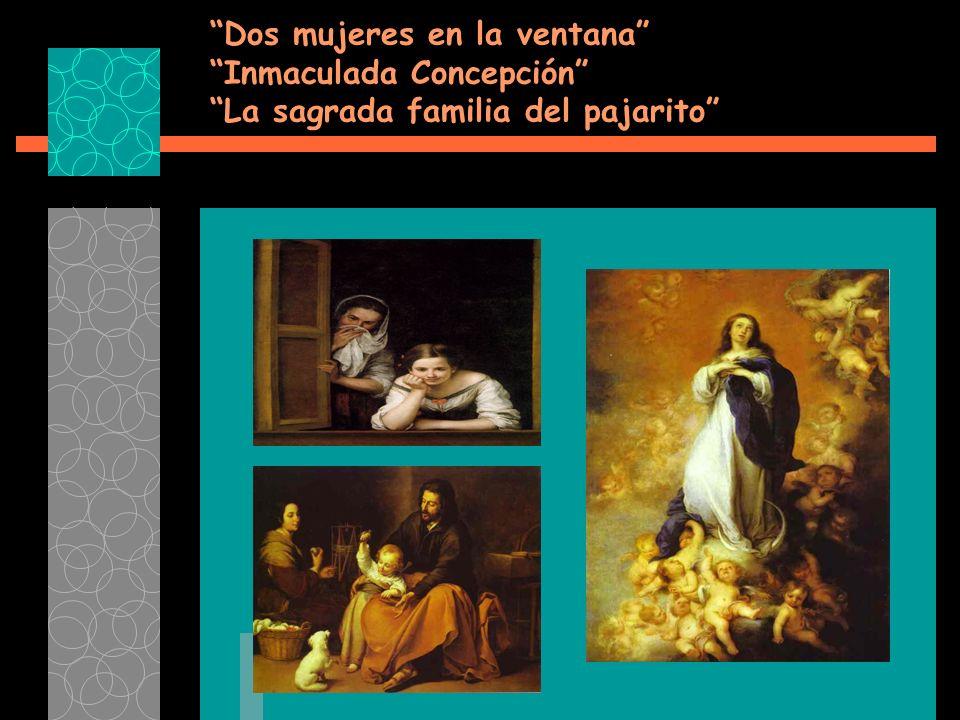 Dos mujeres en la ventana Inmaculada Concepción La sagrada familia del pajarito