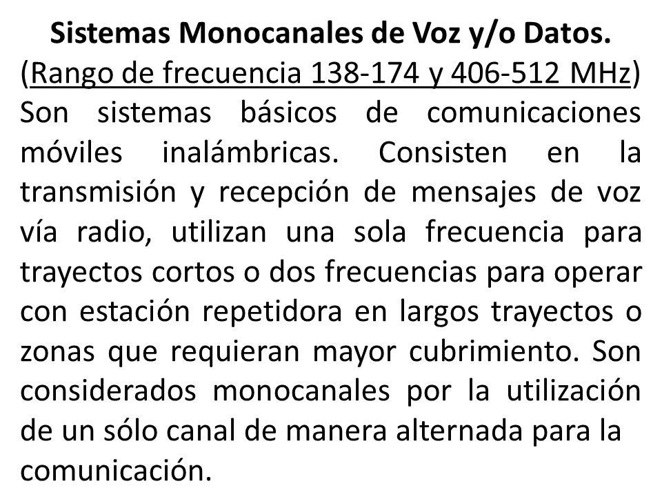 Sistemas Monocanales de Voz y/o Datos.