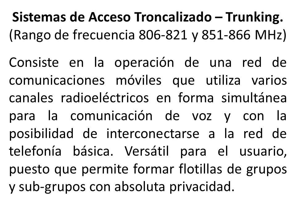 Sistemas de Acceso Troncalizado – Trunking.