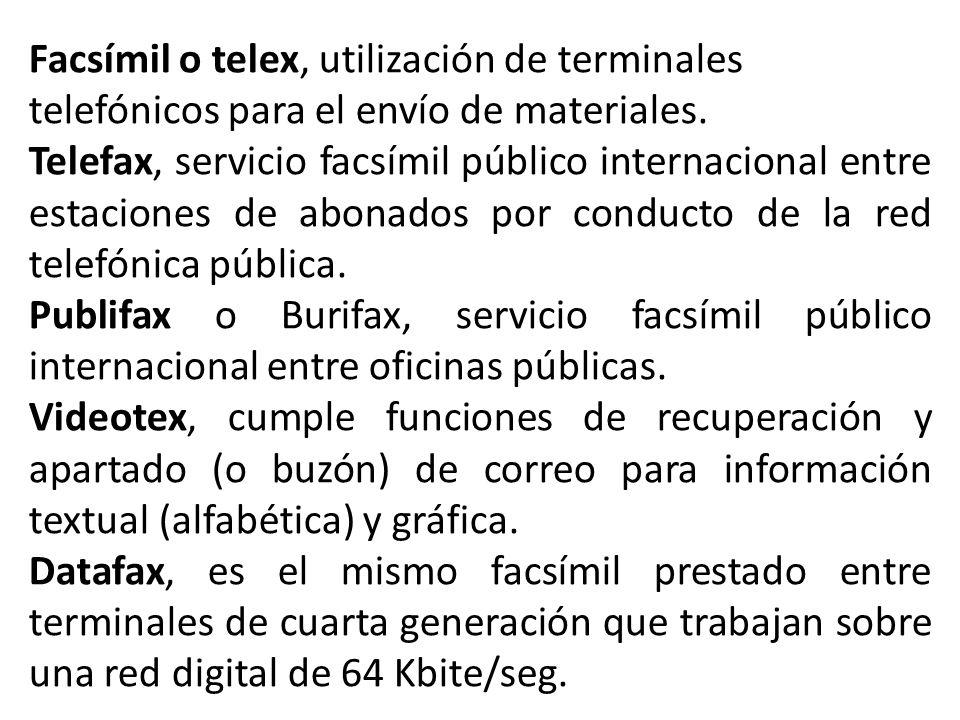 Facsímil o telex, utilización de terminales telefónicos para el envío de materiales.