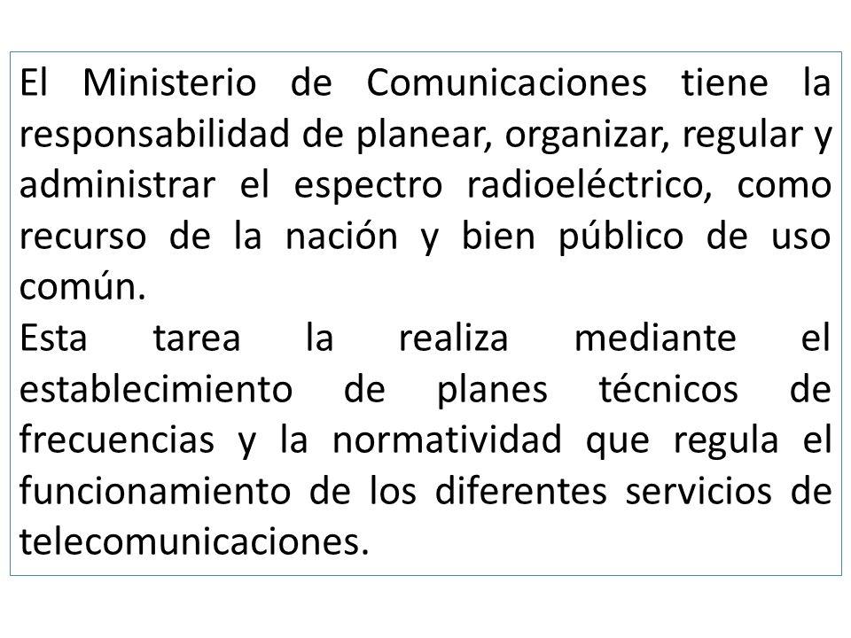 El Ministerio de Comunicaciones tiene la responsabilidad de planear, organizar, regular y administrar el espectro radioeléctrico, como recurso de la nación y bien público de uso común.