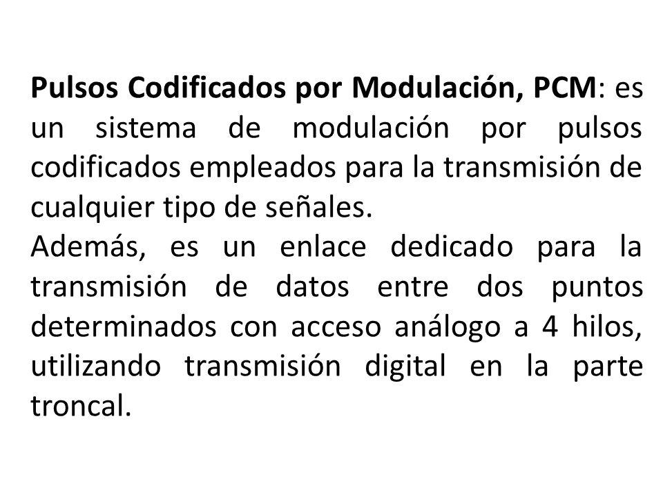 Pulsos Codificados por Modulación, PCM: es un sistema de modulación por pulsos codificados empleados para la transmisión de cualquier tipo de señales.