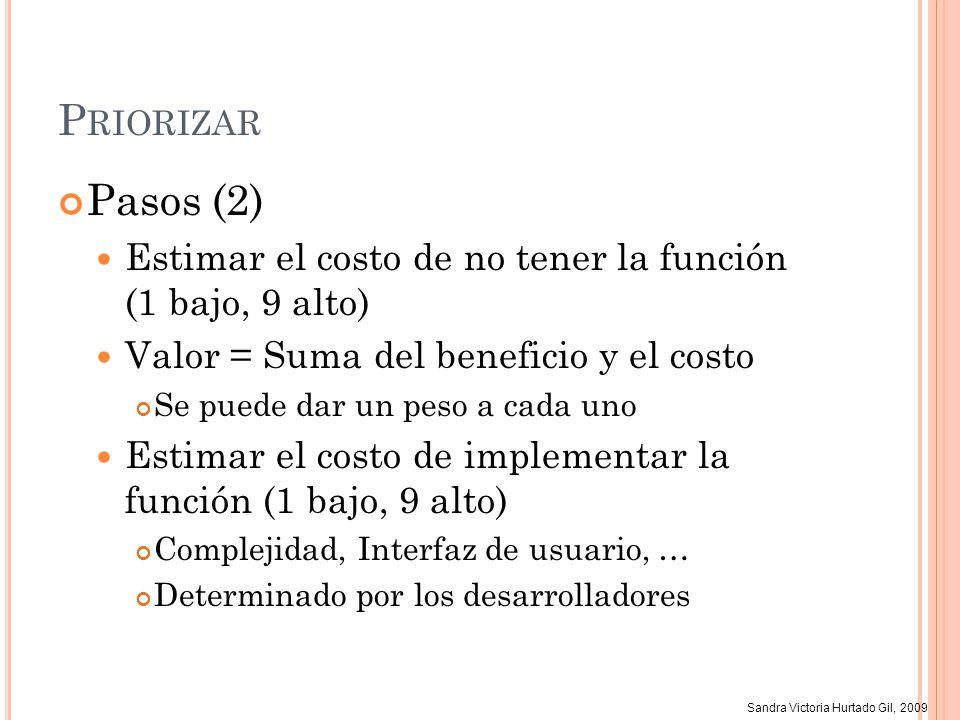Priorizar Pasos (2) Estimar el costo de no tener la función (1 bajo, 9 alto) Valor = Suma del beneficio y el costo.