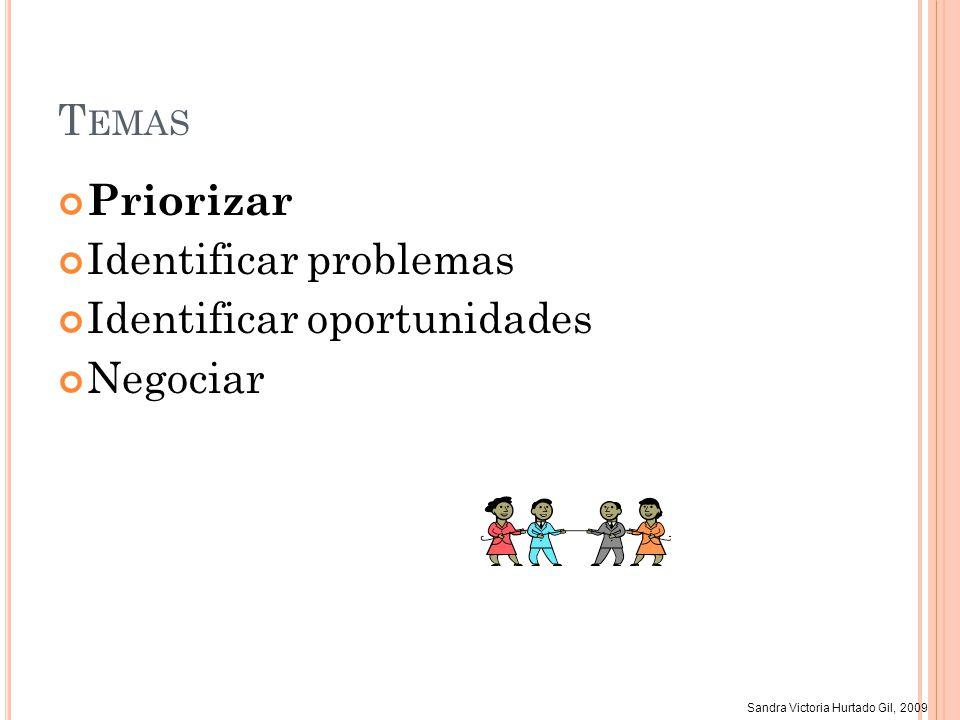Temas Priorizar Identificar problemas Identificar oportunidades Negociar