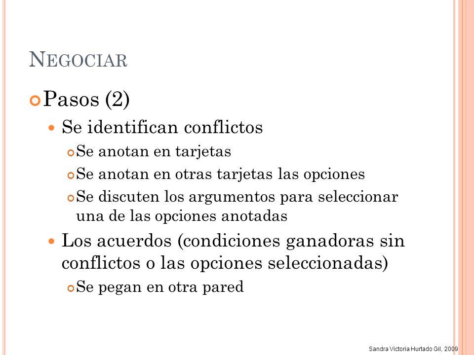 Negociar Pasos (2) Se identifican conflictos
