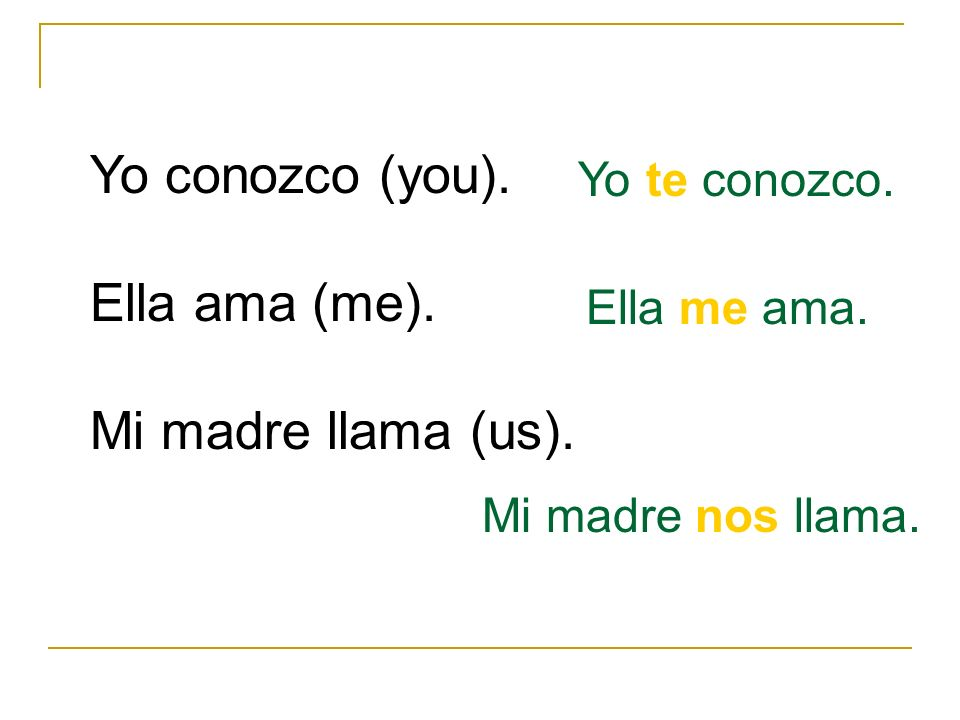 Yo conozco (you). Ella ama (me). Mi madre llama (us). Yo te conozco.