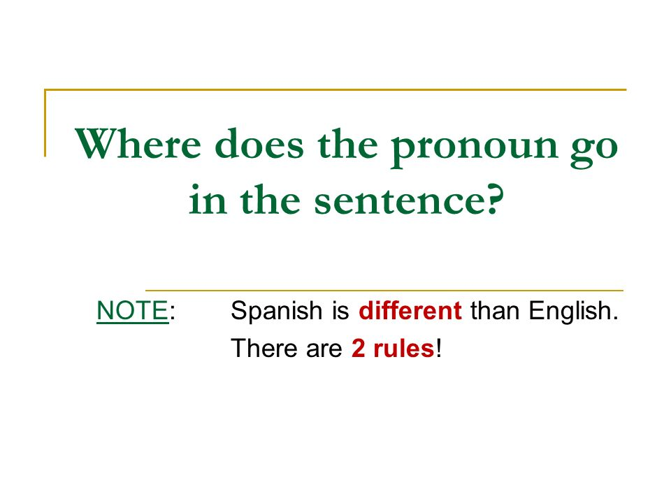 Where does the pronoun go in the sentence
