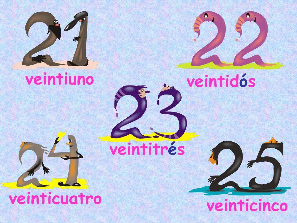 veintiuno veintidós veintitrés veinticuatro veinticinco