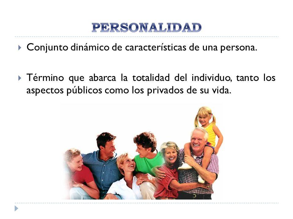 PERSONALIDAD Conjunto dinámico de características de una persona.