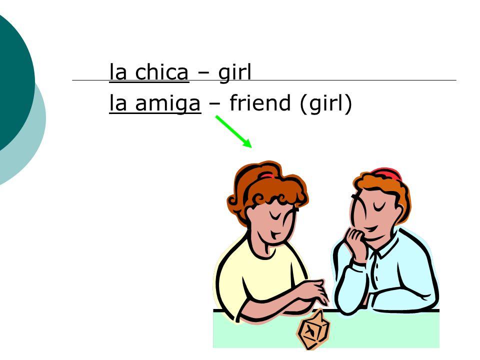 la chica – girl la amiga – friend (girl)