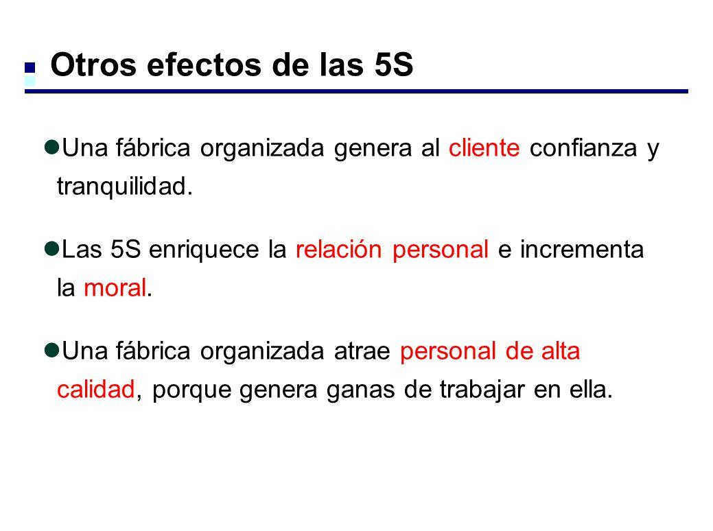 Otros efectos de las 5S Una fábrica organizada genera al cliente confianza y tranquilidad.
