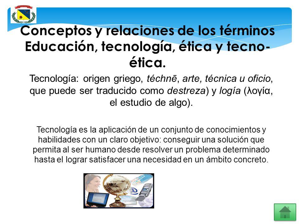 Conceptos y relaciones de los términos Educación, tecnología, ética y tecno-ética.