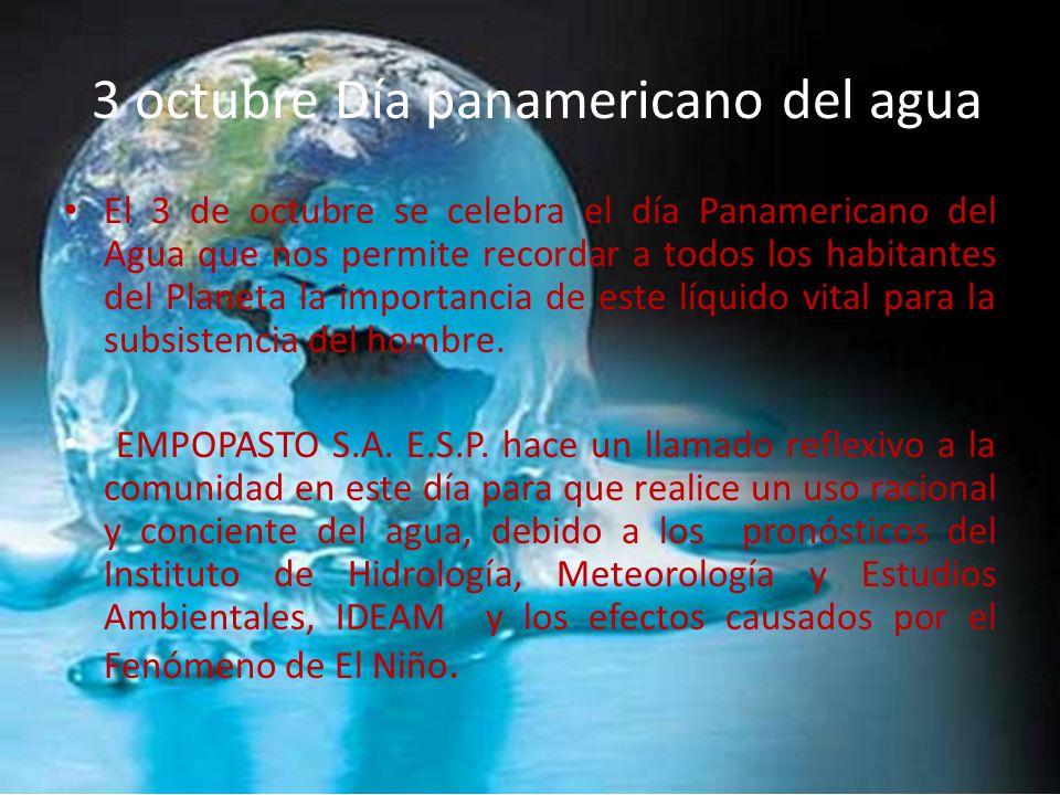 3 octubre Día panamericano del agua