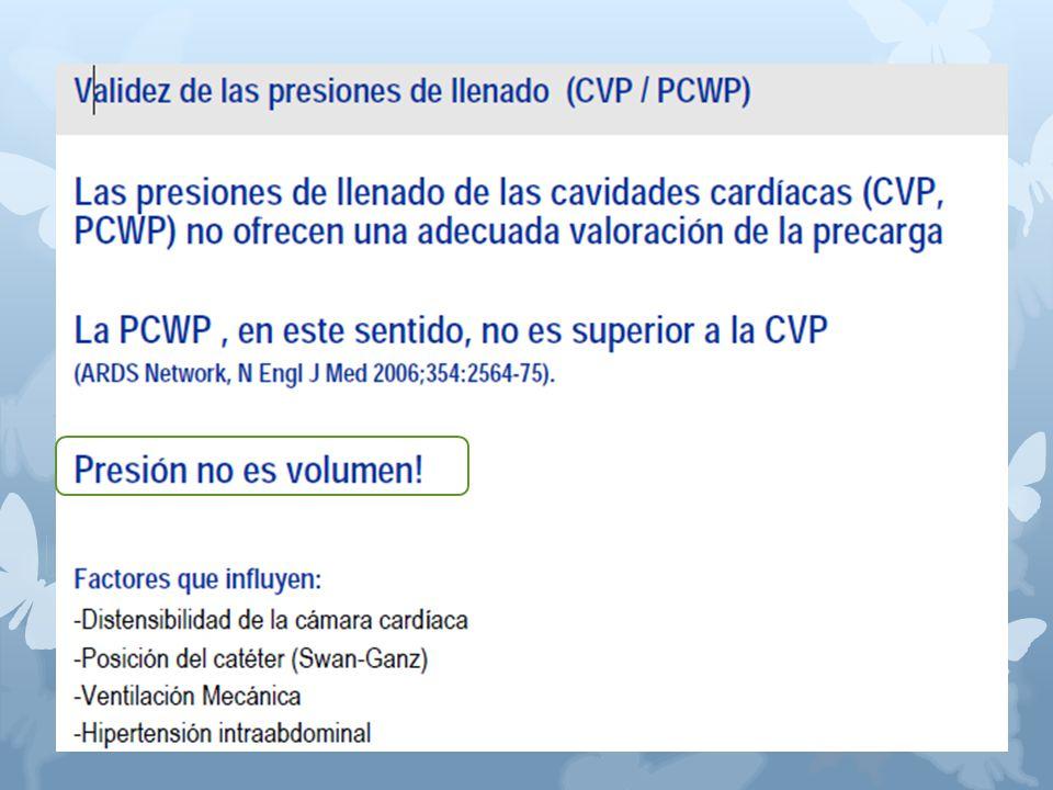 Las presiones de llenado de las cavidades cardíacas (CVP, PCWP) no ofrecen una adecuada valoración de la precarga