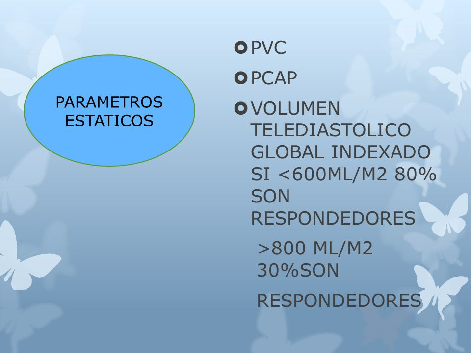 PVC PCAP. VOLUMEN TELEDIASTOLICO GLOBAL INDEXADO SI <600ML/M2 80% SON RESPONDEDORES. >800 ML/M2 30%SON.