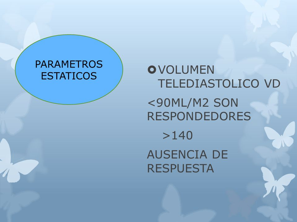 VOLUMEN TELEDIASTOLICO VD <90ML/M2 SON RESPONDEDORES >140