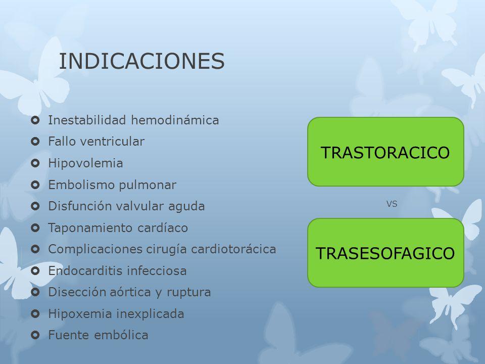INDICACIONES TRASTORACICO TRASESOFAGICO Inestabilidad hemodinámica