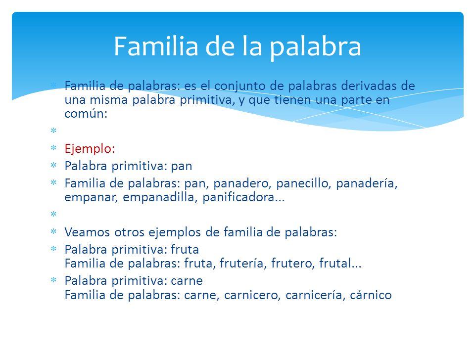 Familia de la palabra Familia de palabras: es el conjunto de palabras derivadas de una misma palabra primitiva, y que tienen una parte en común: