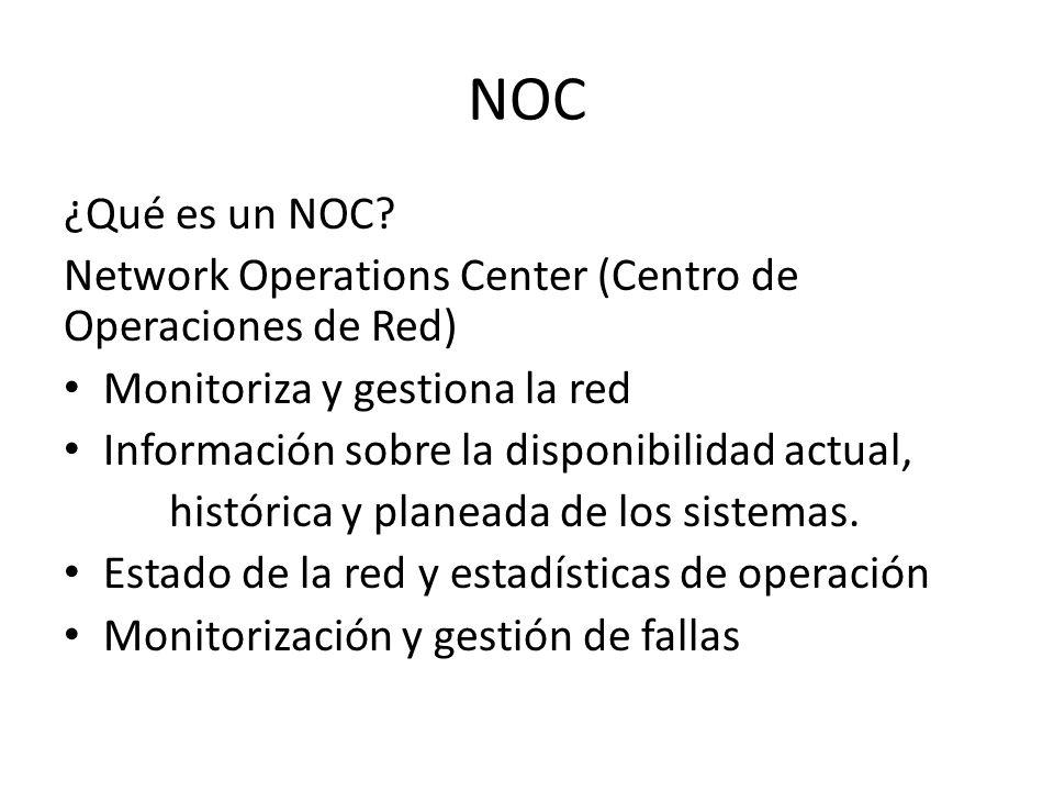 NOC ¿Qué es un NOC Network Operations Center (Centro de Operaciones de Red) Monitoriza y gestiona la red.