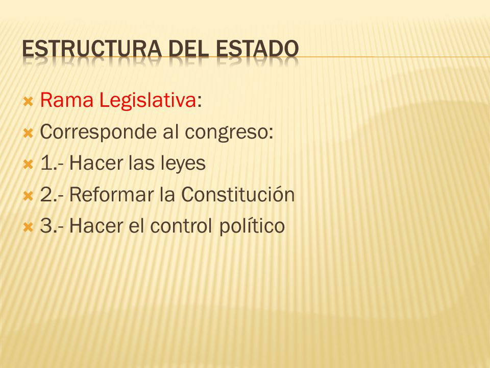 Estructura del Estado Rama Legislativa: Corresponde al congreso: