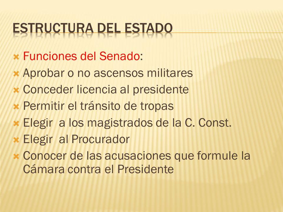 Estructura del Estado Funciones del Senado: