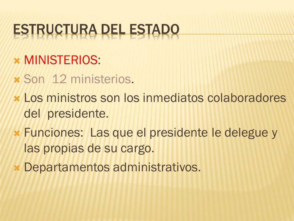 Estructura del Estado MINISTERIOS: Son 12 ministerios.
