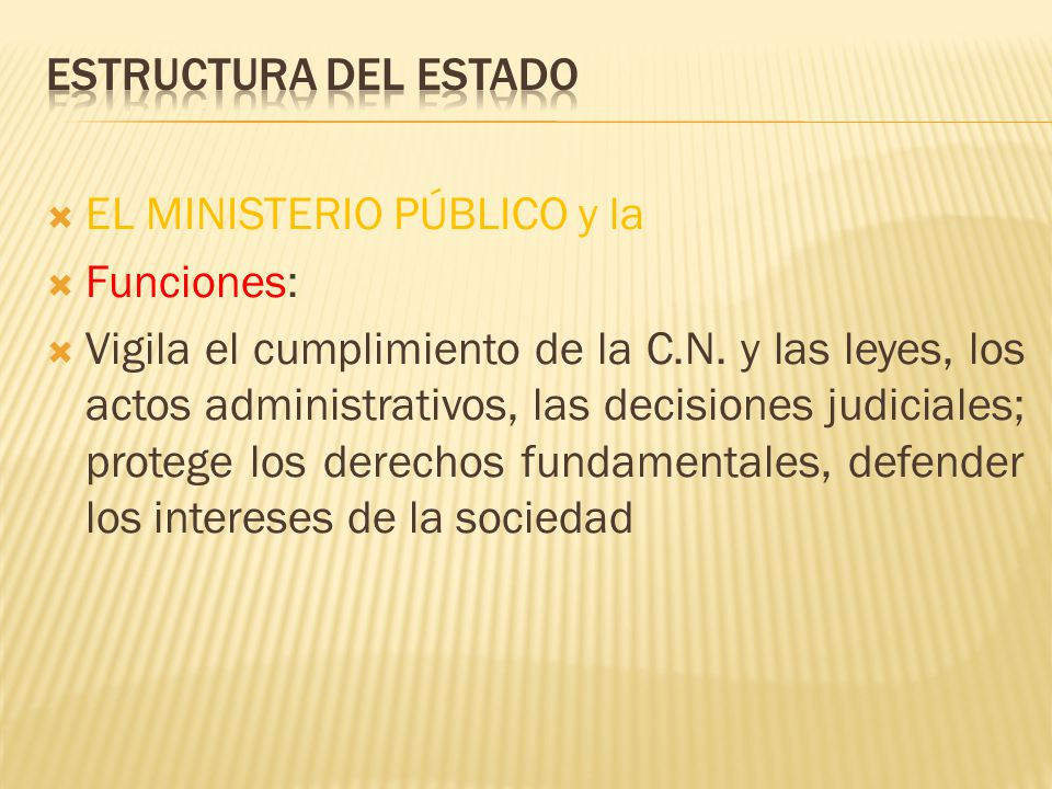 Estructura del Estado EL MINISTERIO PÚBLICO y la. Funciones: