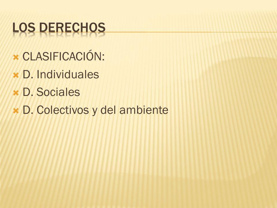 LOS DERECHOS CLASIFICACIÓN: D. Individuales D. Sociales