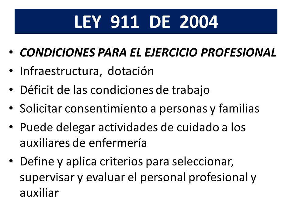 LEY 911 DE 2004 CONDICIONES PARA EL EJERCICIO PROFESIONAL