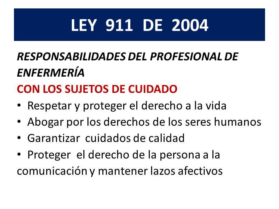 LEY 911 DE 2004 RESPONSABILIDADES DEL PROFESIONAL DE ENFERMERÍA